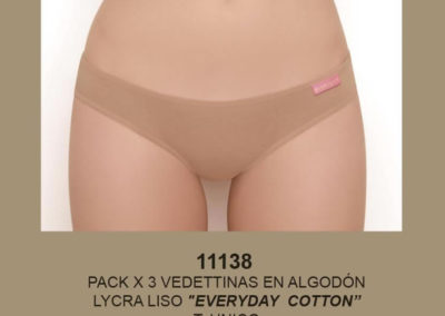 Art 11138 pack x3 vedetinas alg lycra liso talle unico surtido blanco negro nougat