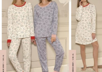 Art. 20303 Pijama estampado. Talles S al XL y Art. 20203 Remeron estampado. Talles S al XL