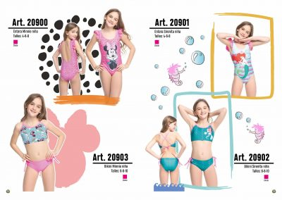 ART. 20900 – Entera Minnie niña T: 4 – 6 – 8 C: Chicle | ART. 20903 – Bikini Minnie Niña T: 6 – 8 – 10 C: Chicle | ART. 20901 – Entera Sirenita niña T: 4 – 6 – 8 C: Chicle| ART. 20902 –  Bikini Sirenita niña T: 6 – 8 – 10 C: Chicle