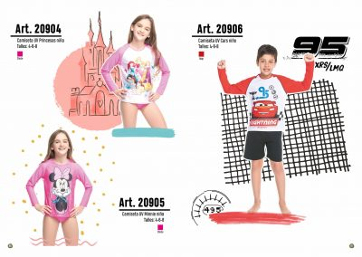ART. 20904 –  Camiseta UV Princesas niña T: 4 – 6 – 8 C: Chicle | ART. 20905 – Camiseta UV Minnie Niña T: 4 – 6 – 8 C: Chicle | ART. 20906 – Camiseta UV Cars niño T: 4 – 6 – 8 C: Rojo