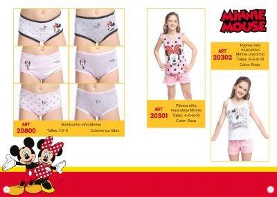 ART. 20800 – Bombacha niña Minnie T: 1 – 2 – 3 C: Surtidos | ART. 20301 – Pijama niña musculosa Minnie T: 4 - 6 – 8 – 10 C: Rosa | ART. 20302 – Pijama niña musculosa Minnie Unicornio T: 4 – 6 – 8 - 10 C: Rosa