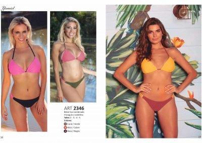 ART. 2346 – Bikini lisa combinada triángulo y vedetina T: 2 al 5 C: Coral/Verde – Maíz/Cobre – Rosa/Negro